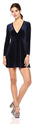 Wild Meadow Women's Long Sleeve Stretch Velvet Fit and Flare Dress S