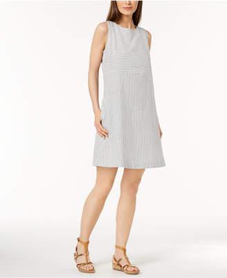 Eileen Fisher Hemp Blend Striped A-Line Dress