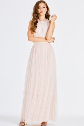 Little Mistress Samantha Nude Frill Maxi Dress