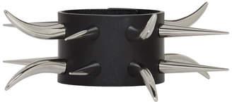 Junya Watanabe Black Leather Long Spike Studs Bracelet