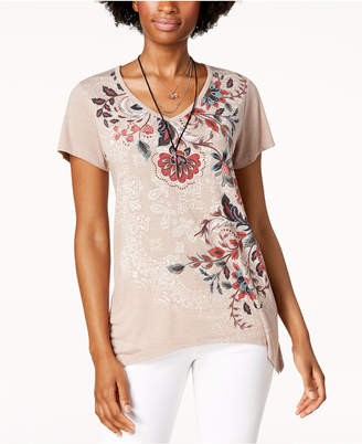 Style&Co. Style & Co Petite Floral Graphic Top, Created for Macy's