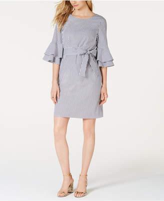 Pappagallo Striped Tiered-Ruffle Sleeve Dress