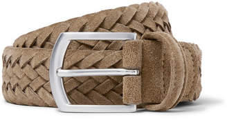 Andersons Anderson's 3.5cm Light-Brown Woven Suede Belt