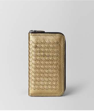 Bottega Veneta Zip Around Wallet In Metallic Calf