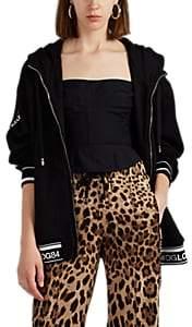 Dolce & Gabbana Women's Logo-Striped Cotton Terry Hoodie - Black