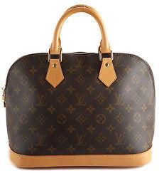 Louis VuittonLouis Vuitton Brown Coated Canvas Monogram Alma Satchel Handbag BP4137 MHL