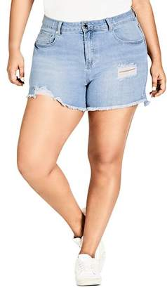City Chic Plus Distressed Cutoff Denim Shorts in Light Denim