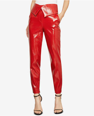 BCBGMAXAZRIA Faux-Leather Peplum Pants