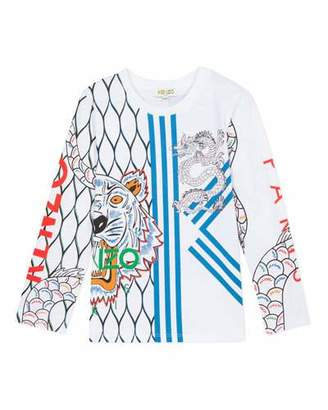 Kenzo Multi-Iconic Tiger & Dragon Graphic Tee, Size 8-12