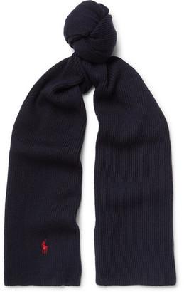 Ribbed-Knit Merino Wool Scarf