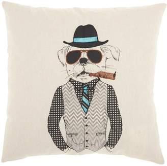 Nourison Trendy, Hip, & New Age Cigar Sunglasses Dog Natural Throw Pillow