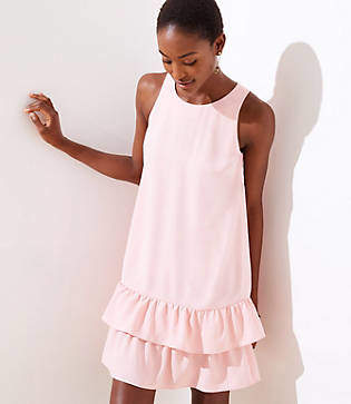LOFT Tall Back Cutout Ruffle Hem Dress