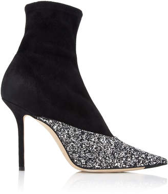 Jimmy Choo Moda Exclusive Brionna Glitter Suede Ankle Boots Size: 36