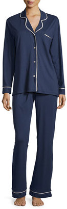 Cosabella Bella Contrast-Trim Long-Sleeve Pajama Set, Navy/Ivory $130 thestylecure.com