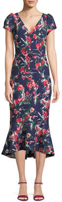 David Meister V-Neck Floral-Print Flutter Belted Dress