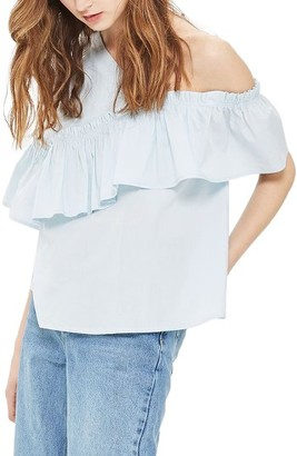 Women's Topshop One Cold Shoulder Ruffle Top $50 thestylecure.com