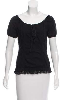 Miu Miu Lace Trimmed Short Sleeve Top