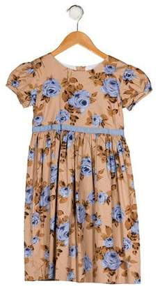 Rachel Riley Girls' Floral Print Pleated Dress
