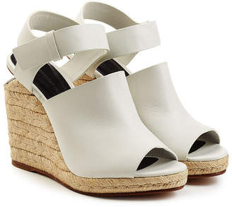 Alexander Wang Leather Sandals with Raffia Wedges