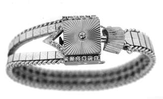 Estate Dobbs Diamond 14k White Gold Vintage Watch & Band 17 Jewel