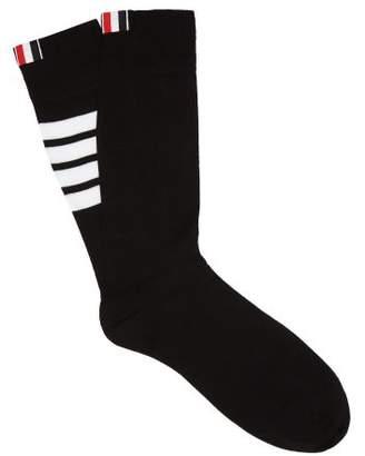 Thom Browne Striped Cotton Blend Socks - Mens - Black