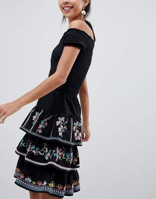Asos Design DESIGN tiered mini sun skirt with embroidery
