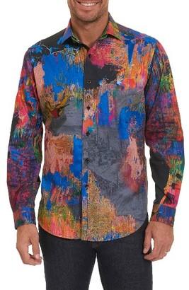 Men's Robert Graham Zucker Print Band Collar Sport Shirt $398 thestylecure.com