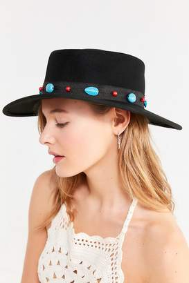 Urban Outfitters Telescope Turquoise Trim Felt Boater Hat