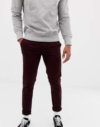 Burton Menswear skinny chinos in burgundy