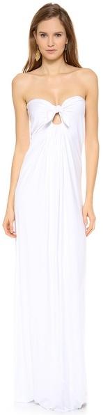 Reem Acra Silk Empire Waist Draped Gown