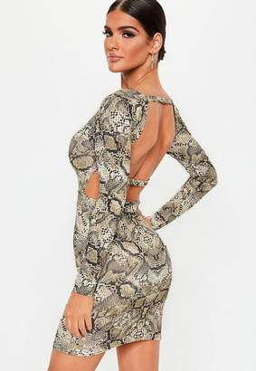 Missguided Stone Snake Print Long Sleeve Open Back Dress
