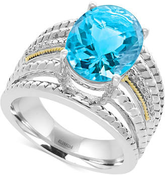 Effy Blue Topaz (6-1/6 ct. t.w.) & Diamond Accent Ring in Sterling Silver & 18k Gold