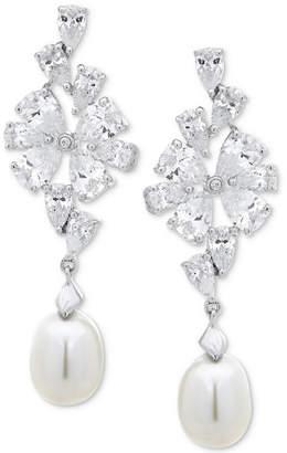 Arabella Cultured Freshwater Pearl (8mm) & Swarovski Zirconia Drop Earrings in Sterling Silver