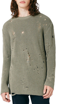 TOPMAN Slim Fit Ripped Military Sweater $65 thestylecure.com