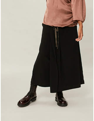 Y's Ys Wide high-rise crepe cropped trousers
