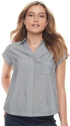 Apt. 9 Petite Poplin Short Sleeve Shirt