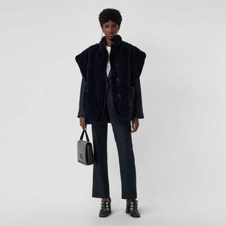 Burberry Stand Collar Faux Fur Cape