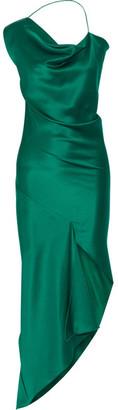 Cushnie et Ochs - Draped Asymmetric Silk-satin Dress - Emerald $1,895 thestylecure.com