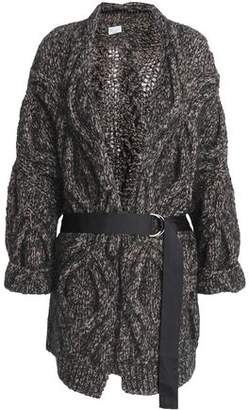 Brunello Cucinelli Belted Marled Cable-knit Wool-blend Cardigan