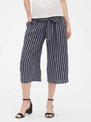 Gap Maternity Tie-Waist Stripe Wide-Leg Crop Pants in Linen