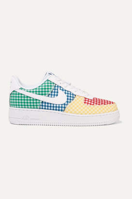 Nike Air Force 1 Leather And Pvc-trimmed Gingham Canvas Sneakers - Blue