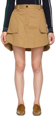 Carven Tan Panelled Miniskirt