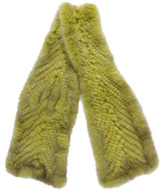 Cassin Knit Mink Scarf Lime Knit Mink Scarf