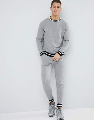Asos Design Tracksuit Sweatshirt/Super Skinny Jogger With Contrast Tipping In Grey Marl