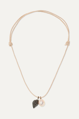 Dezso by Sara Beltrán Leather, Onyx And Pearl Necklace - Rose gold