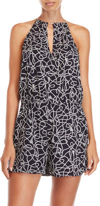 MICHAEL Michael Kors Printed High Neck Cover-Up Romper