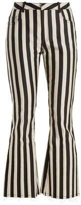 Marques'almeida - High Rise Striped Satin Kick Flare Trousers - Womens - Black White