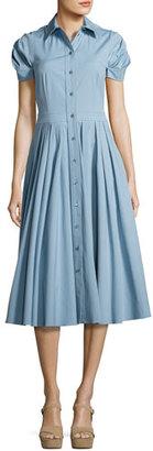 Michael Kors Pleated Short-Sleeve A-Line Shirtdress, Medium Blue $1,495 thestylecure.com