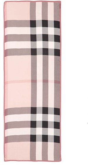 Women's Burberry 'Ultra Mega Check' Washed Mulberry Silk Scarf