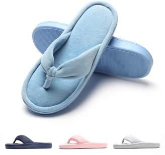 Fly London HAWK Women Spa Thong Flip Flops Velvet Memory Foam Indoor House Slippers